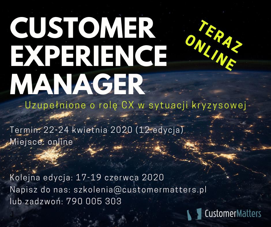 Szkolenie Manager Customer Experience, czyli o CX w czasach spokoju i kryzysu